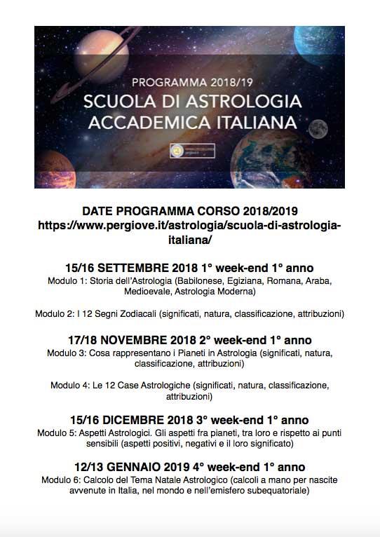 Programma Scuola Astrologica Italiana anno Accademico 2018/2019