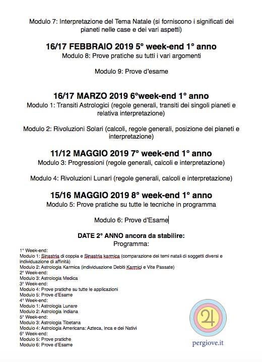 Programma Scuola Astrologica Italiana anno Accademico 2018/2019 foglio secondo