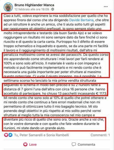 Testimonianza di Bruno Manca sul Metodo Celestino per l'Abbondanza