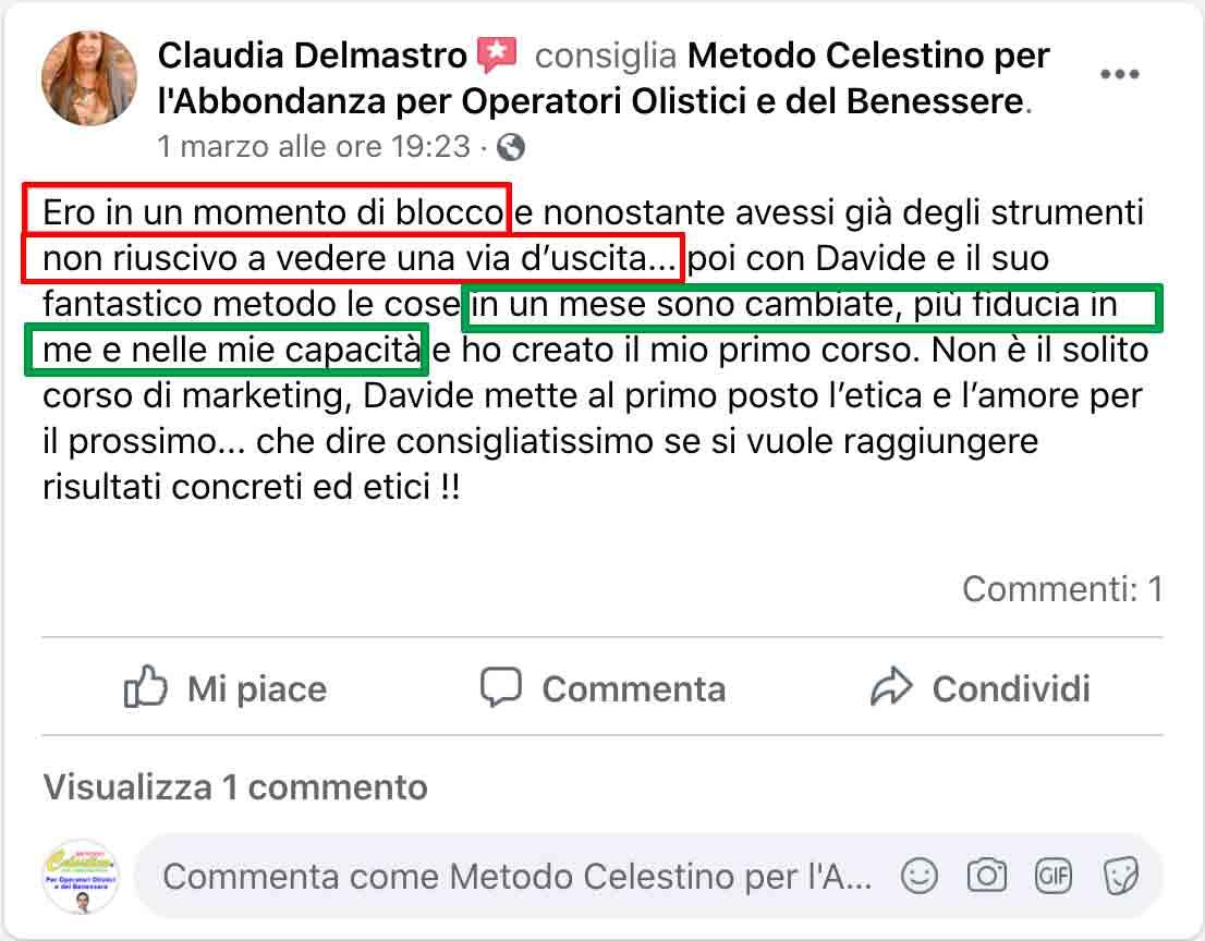 Testimonianza di Claudia Delmastro sul Metodo Celestino